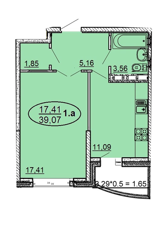 1-комнатная 39,07 м2