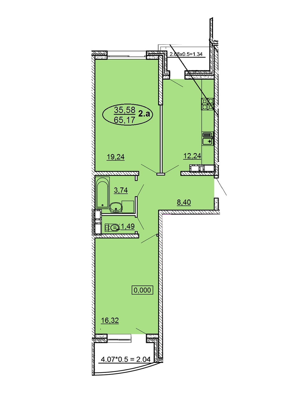 2-комнатная 65,17 м2