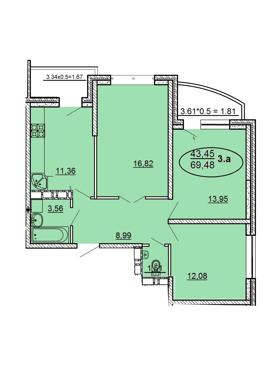 3-комнатная 69,48 м2