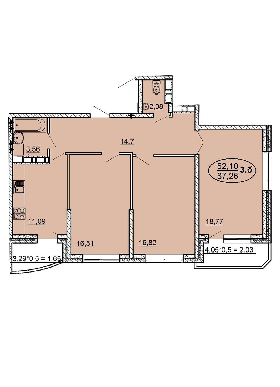 3-комнатная 87,26 м2