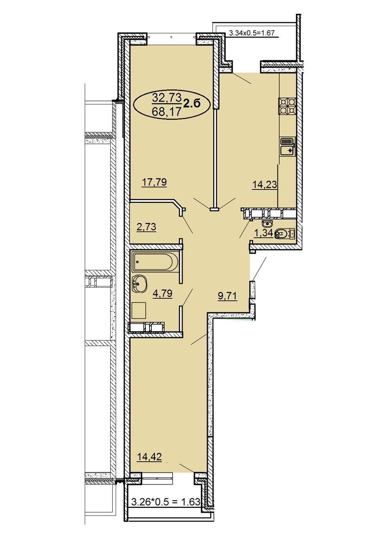 2-комнатная 68,17 м2