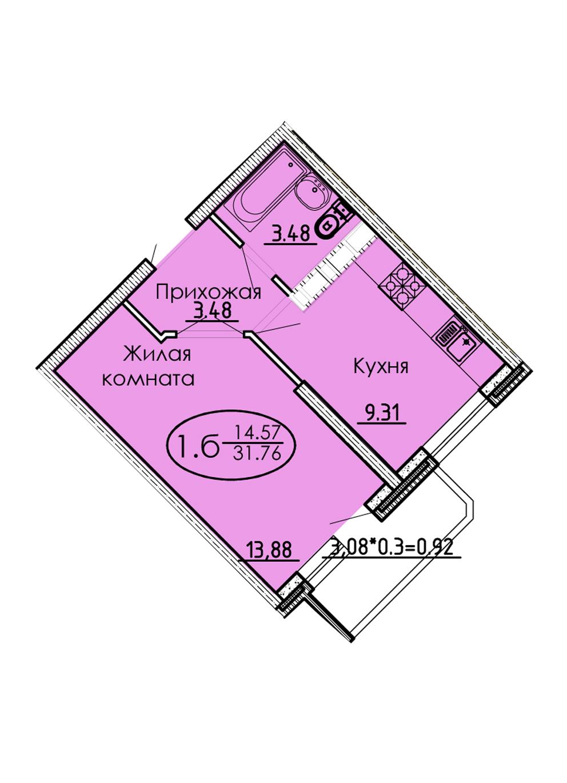 1-комнатная 31,76 м2