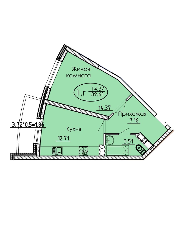 1-комнатная 39,61 м2