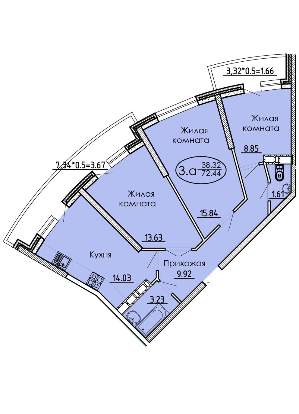 3-комнатная 72,44 м2