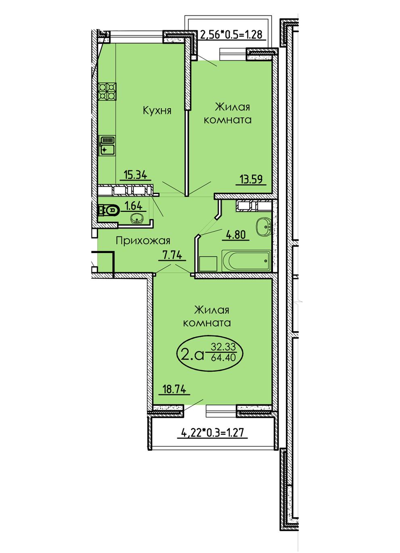 2-комнатная 64,40 м2