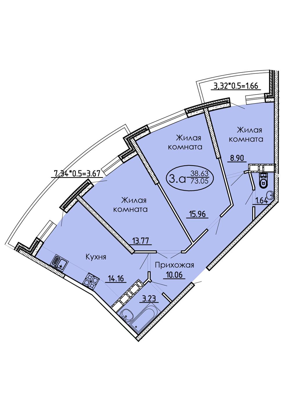 3-комнатная 73,05 м2