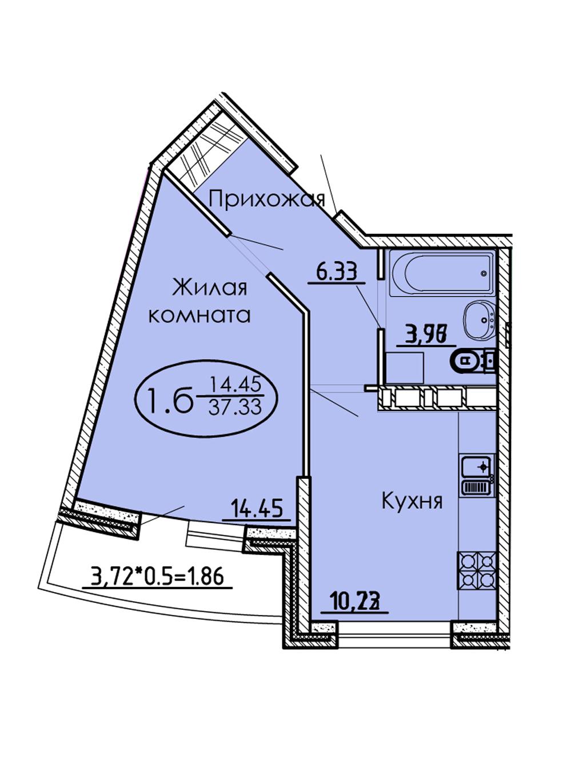 1-комнатная 37,33 м2