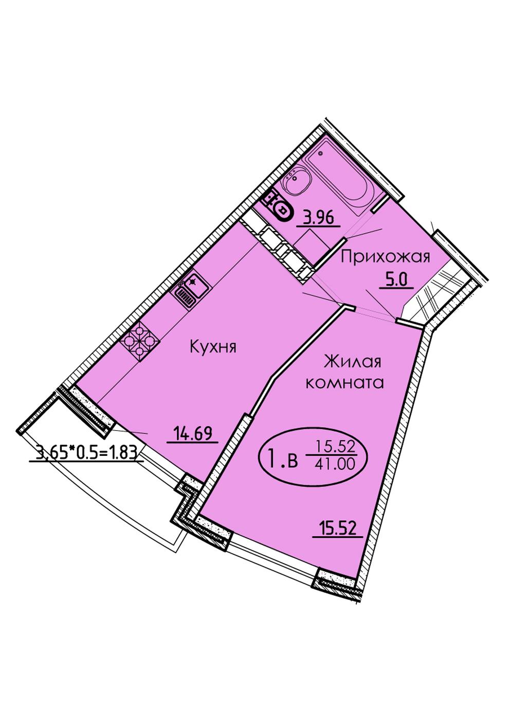 1-комнатная 41,00 м2