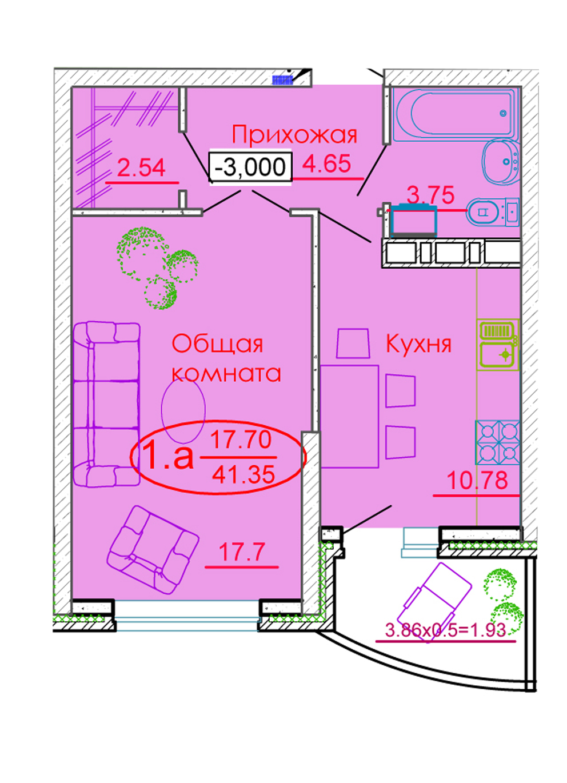 1-комнатная 41,35 м2